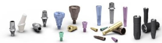 Components of the Astra dental implants Premium system set out on a table