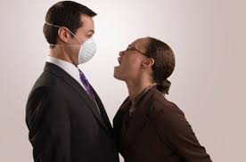 bad breath tester - wear a facemask!
