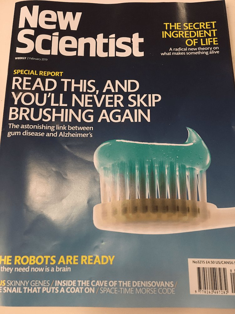The Alzheimers Gum Disease connection on the cover of New Scientist magazine
